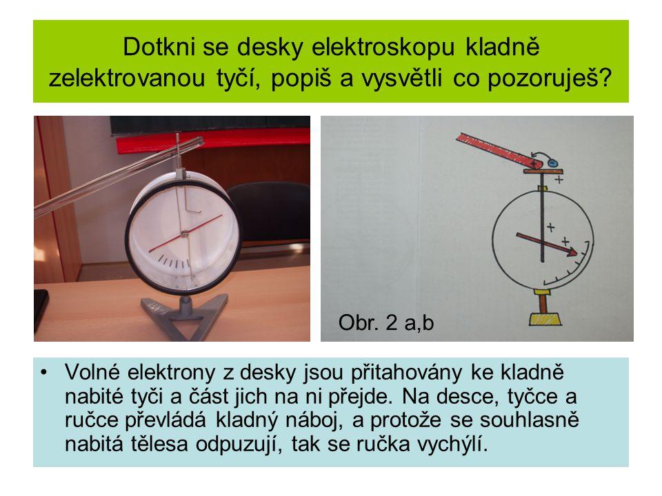 Dotkni se desky elektroskopu kladně zelektrovanou tyčí, popiš a vysvětli co pozoruješ? Volné elektrony z desky jsou přitahovány ke kladně nabité tyči
