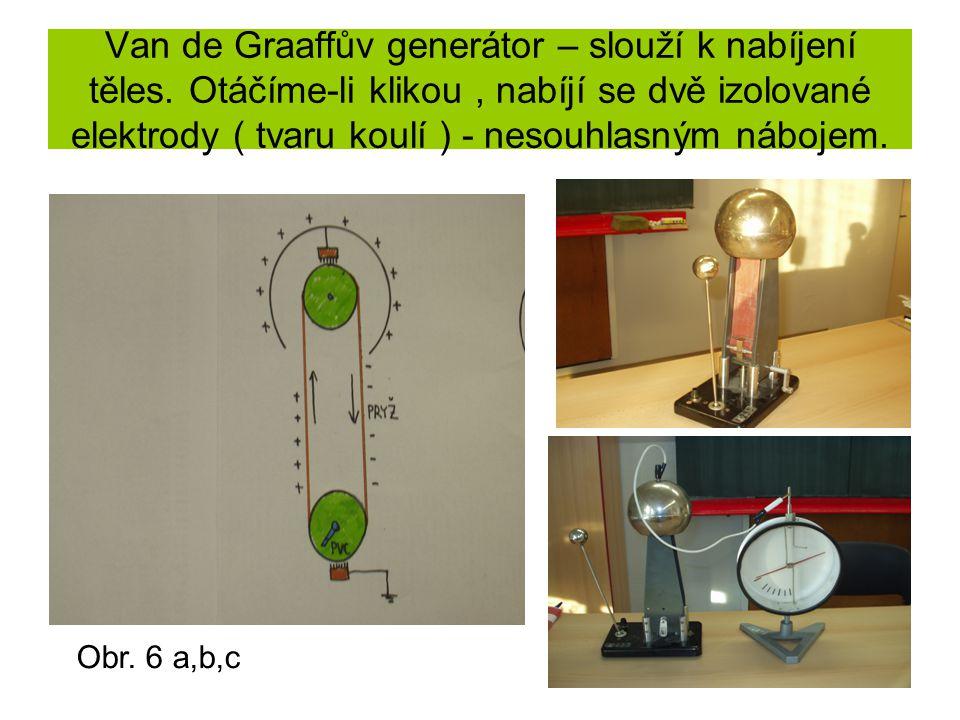 Van de Graaffův generátor – slouží k nabíjení těles. Otáčíme-li klikou, nabíjí se dvě izolované elektrody ( tvaru koulí ) - nesouhlasným nábojem. Obr.