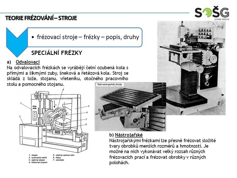 frézovací stroje – frézky – popis, druhy TEORIE FRÉZOVÁNÍ – STROJE SPECIÁLNÍ FRÉZKY a)Odvalovací Na odvalovacích frézkách se vyrábějí čelní ozubená ko