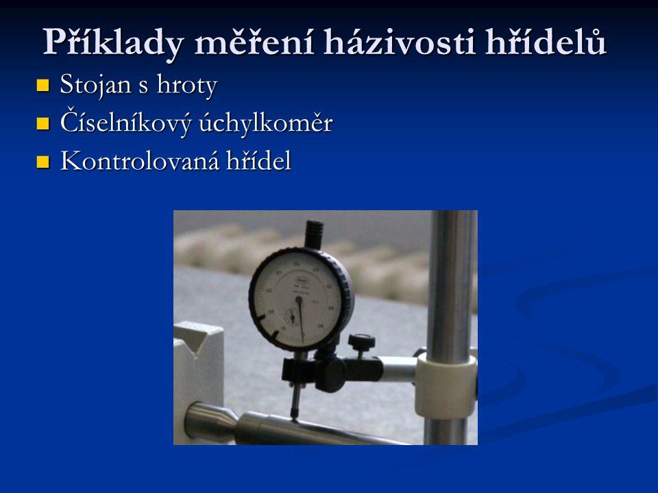 Příklady měření házivosti hřídelů Stojan s hroty Stojan s hroty Číselníkový úchylkoměr Číselníkový úchylkoměr Kontrolovaná hřídel Kontrolovaná hřídel