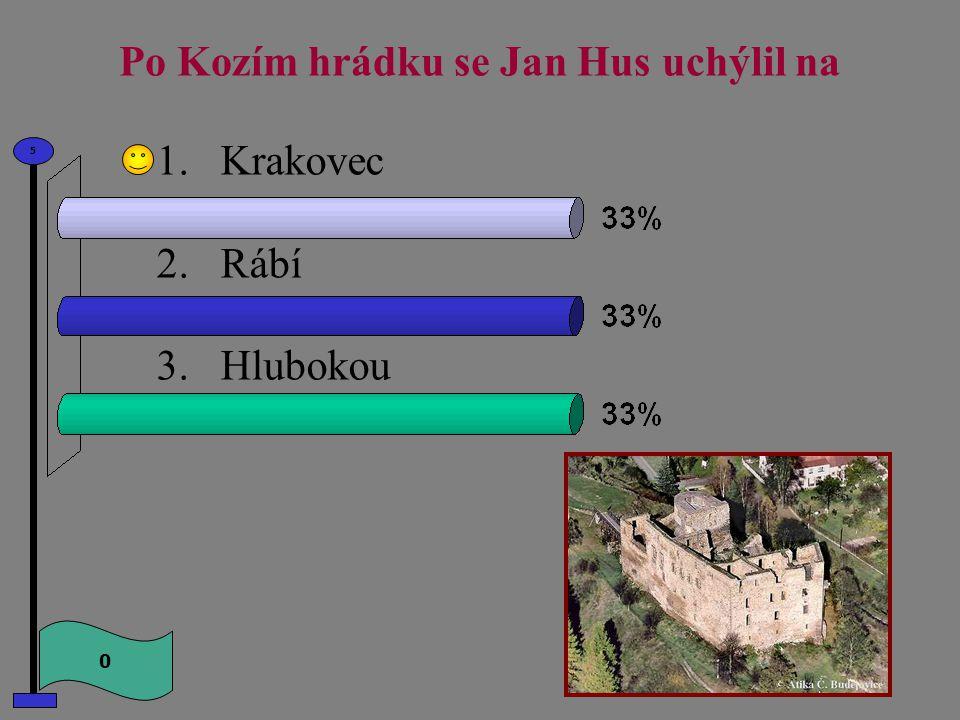 Po Kozím hrádku se Jan Hus uchýlil na 1.Krakovec 2.Rábí 3.Hlubokou 0 5