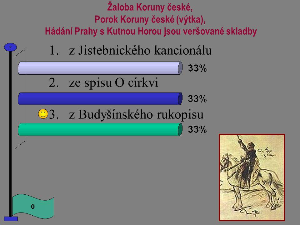 Jedna z nejvýznamnějších hudebních památek z doby husitské se nazývá 0 5 1.Jistebnický kancionál 2.Budyšínský rukopis 3.Mastičkář