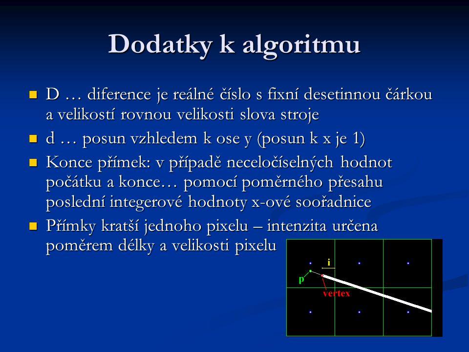 Dodatky k algoritmu D … diference je reálné číslo s fixní desetinnou čárkou a velikostí rovnou velikosti slova stroje D … diference je reálné číslo s