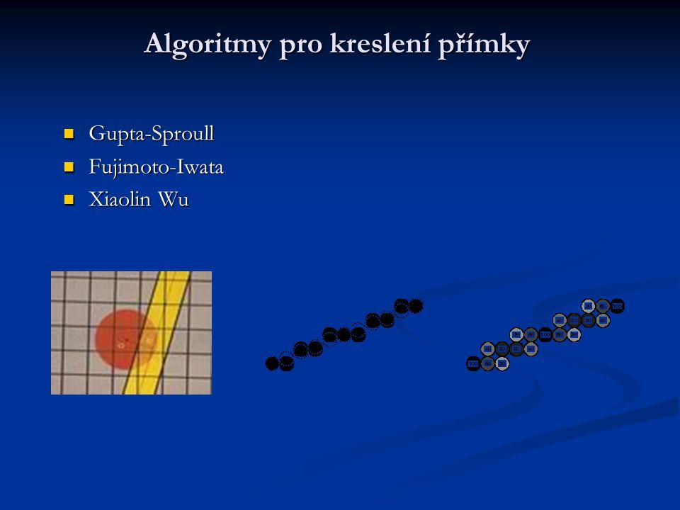 Algoritmy pro kreslení přímky Gupta-Sproull Gupta-Sproull Fujimoto-Iwata Fujimoto-Iwata Xiaolin Wu Xiaolin Wu