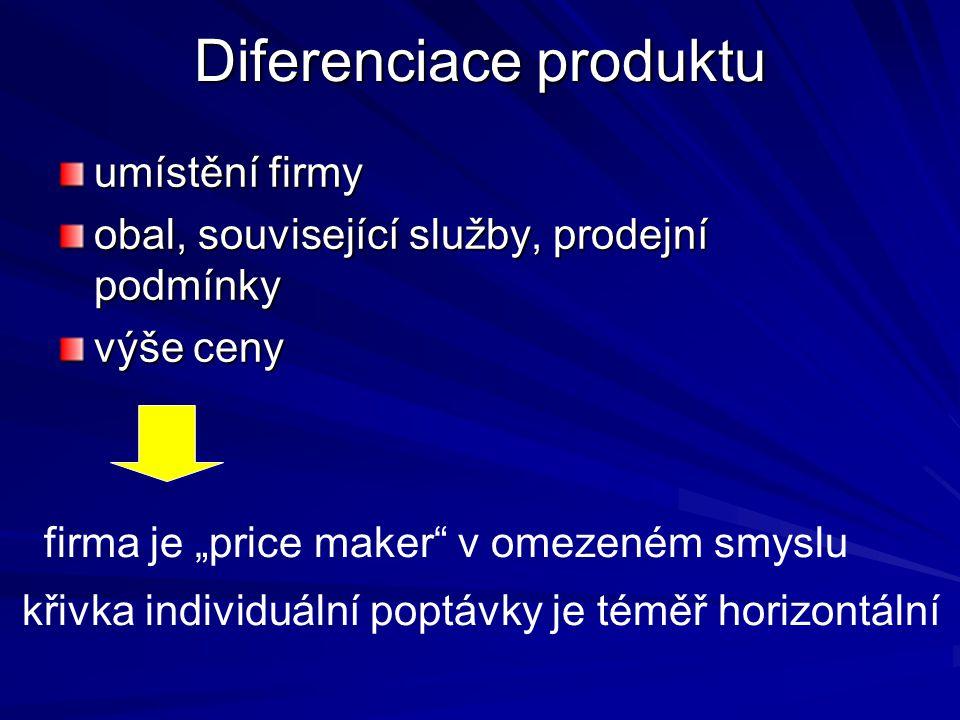 """Diferenciace produktu umístění firmy obal, související služby, prodejní podmínky výše ceny firma je """"price maker v omezeném smyslu křivka individuální poptávky je téměř horizontální"""