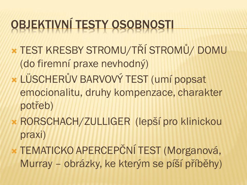  TEST KRESBY STROMU/TŘÍ STROMŮ/ DOMU (do firemní praxe nevhodný)  LÜSCHERŮV BARVOVÝ TEST (umí popsat emocionalitu, druhy kompenzace, charakter potře