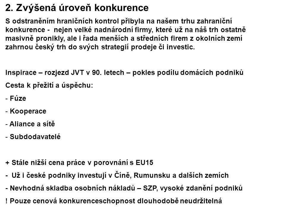 S odstraněním hraničních kontrol přibyla na našem trhu zahraniční konkurence - nejen velké nadnárodní firmy, které už na náš trh ostatně masivně pronikly, ale i řada menších a středních firem z okolních zemí zahrnou český trh do svých strategií prodeje či investic.