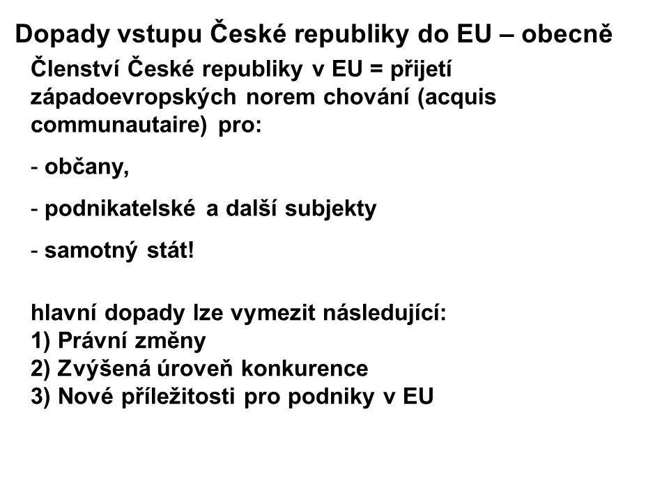 Dopady vstupu České republiky do EU – obecně Členství České republiky v EU = přijetí západoevropských norem chování (acquis communautaire) pro: - občany, - podnikatelské a další subjekty - samotný stát.