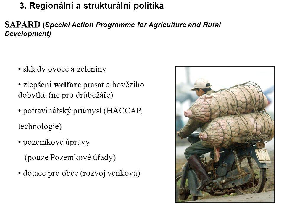 3. Regionální a strukturální politika sklady ovoce a zeleniny zlepšení welfare prasat a hovězího dobytku (ne pro drůbežáře) potravinářský průmysl (HAC