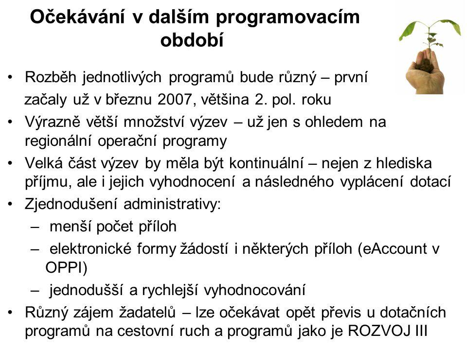 Očekávání v dalším programovacím období Rozběh jednotlivých programů bude různý – první začaly už v březnu 2007, většina 2.