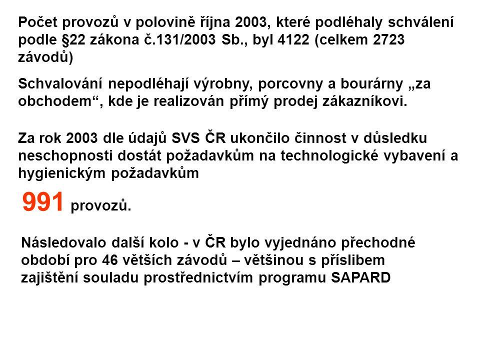"""Následovalo další kolo - v ČR bylo vyjednáno přechodné období pro 46 větších závodů – většinou s příslibem zajištění souladu prostřednictvím programu SAPARD Počet provozů v polovině října 2003, které podléhaly schválení podle §22 zákona č.131/2003 Sb., byl 4122 (celkem 2723 závodů) Schvalování nepodléhají výrobny, porcovny a bourárny """"za obchodem , kde je realizován přímý prodej zákazníkovi."""