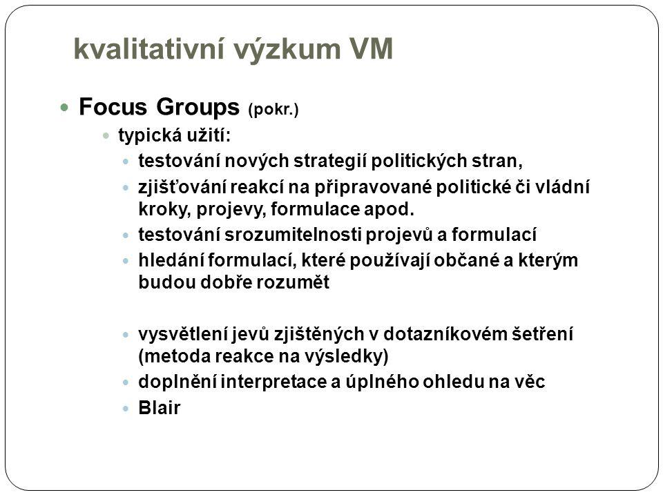 Focus Groups (pokr.) typická užití: testování nových strategií politických stran, zjišťování reakcí na připravované politické či vládní kroky, projevy