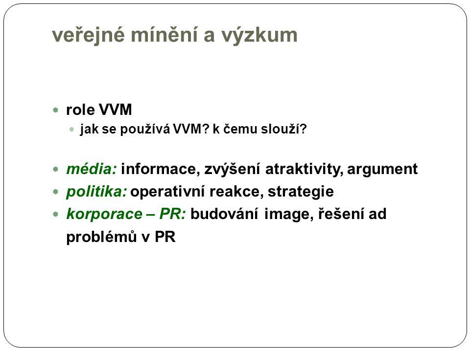 veřejné mínění a veřejnost veřejnost – dvojí zpětná vazba informace o VM veřejnosti cestou medií právo vědět, co si myslí ostatní a to objektivně, kvalitně, nezkresleně služba medií tlak na politiku, veřejnou správu, sdělení názoru právo vyjádřit se VVM (kvalitně provedený a objektivně interpretovaný) je nástrojem demokracie předpokládá ochotu a schopnost politiky/ů přijmout názor lidí