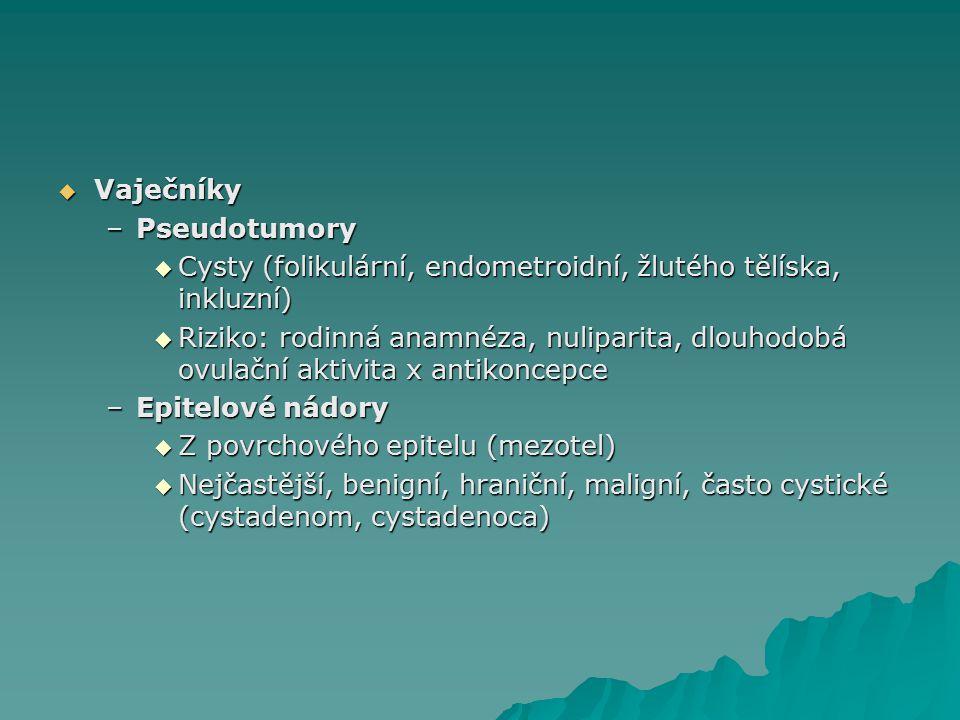  Vaječníky –Pseudotumory  Cysty (folikulární, endometroidní, žlutého tělíska, inkluzní)  Riziko: rodinná anamnéza, nuliparita, dlouhodobá ovulační aktivita x antikoncepce –Epitelové nádory  Z povrchového epitelu (mezotel)  Nejčastější, benigní, hraniční, maligní, často cystické (cystadenom, cystadenoca)