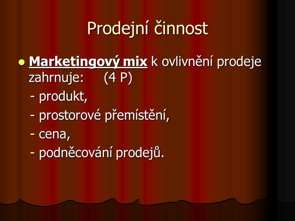 Prodejní činnost Marketingový mix k ovlivnění prodeje zahrnuje: (4 P) Marketingový mix k ovlivnění prodeje zahrnuje: (4 P) - produkt, - produkt, - prostorové přemístění, - prostorové přemístění, - cena, - cena, - podněcování prodejů.