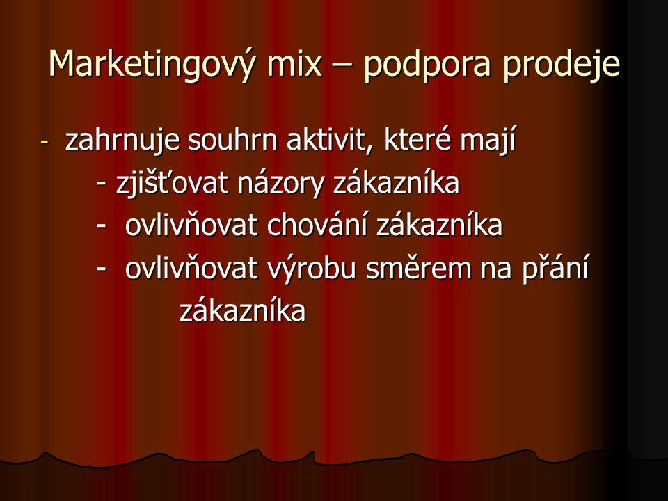 Marketingový mix – podpora prodeje - zahrnuje souhrn aktivit, které mají - zjišťovat názory zákazníka - zjišťovat názory zákazníka - ovlivňovat chování zákazníka - ovlivňovat chování zákazníka - ovlivňovat výrobu směrem na přání - ovlivňovat výrobu směrem na přání zákazníka zákazníka