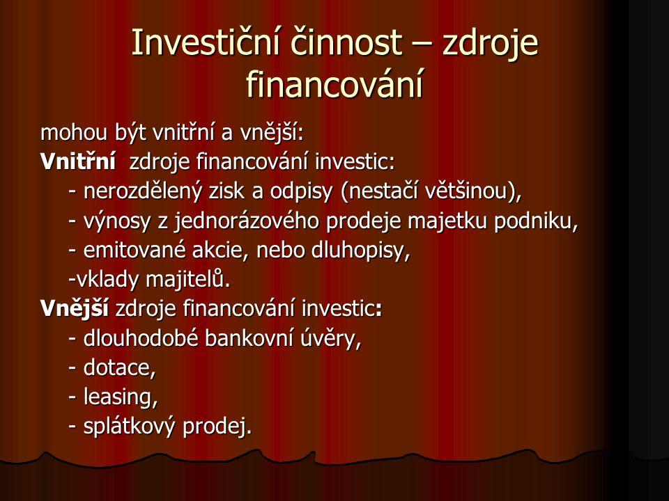 Investiční činnost – zdroje financování mohou být vnitřní a vnější: Vnitřní zdroje financování investic: - nerozdělený zisk a odpisy (nestačí většinou), - nerozdělený zisk a odpisy (nestačí většinou), - výnosy z jednorázového prodeje majetku podniku, - výnosy z jednorázového prodeje majetku podniku, - emitované akcie, nebo dluhopisy, - emitované akcie, nebo dluhopisy, -vklady majitelů.
