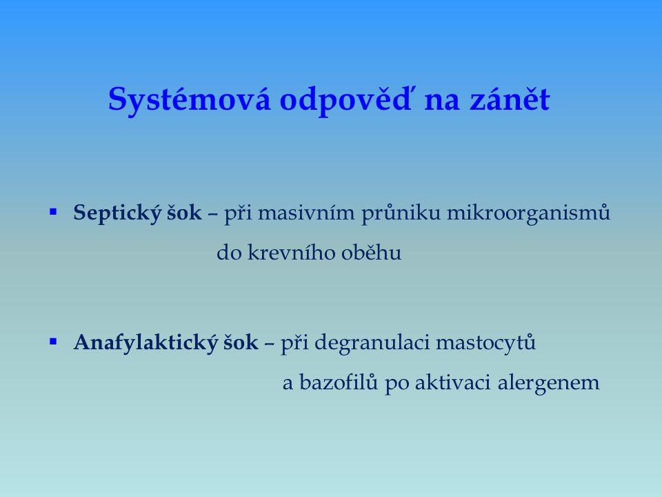  Septický šok – při masivním průniku mikroorganismů do krevního oběhu  Anafylaktický šok – při degranulaci mastocytů a bazofilů po aktivaci alergene