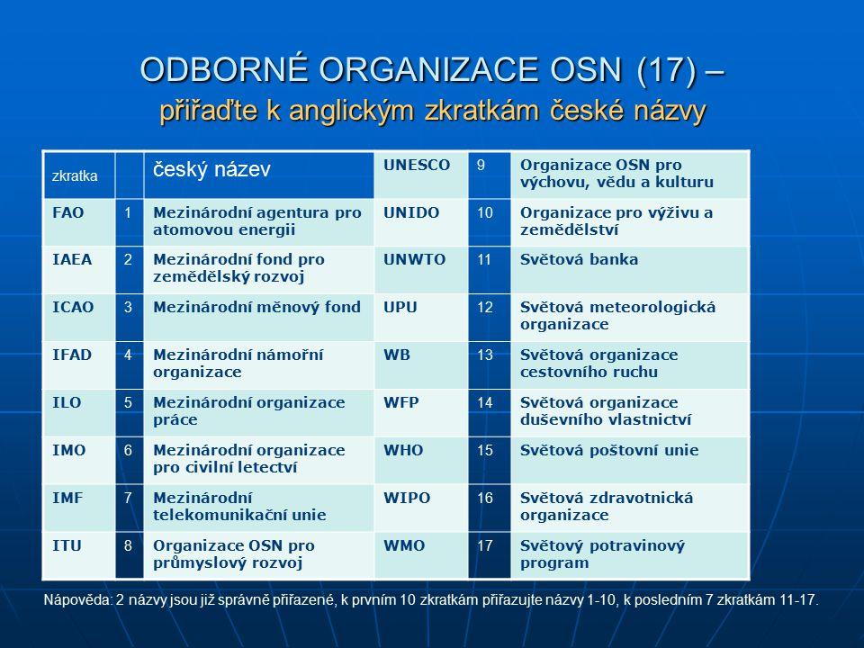 ODBORNÉ ORGANIZACE OSN (17) – přiřaďte k anglickým zkratkám české názvy zkratka český název UNESCO 9 Organizace OSN pro výchovu, vědu a kulturu FAO 1