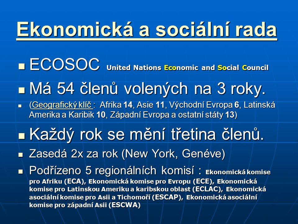 Ekonomická a sociální rada Ekonomická a sociální rada ECOSOC United Nations Economic and Social Council ECOSOC United Nations Economic and Social Coun