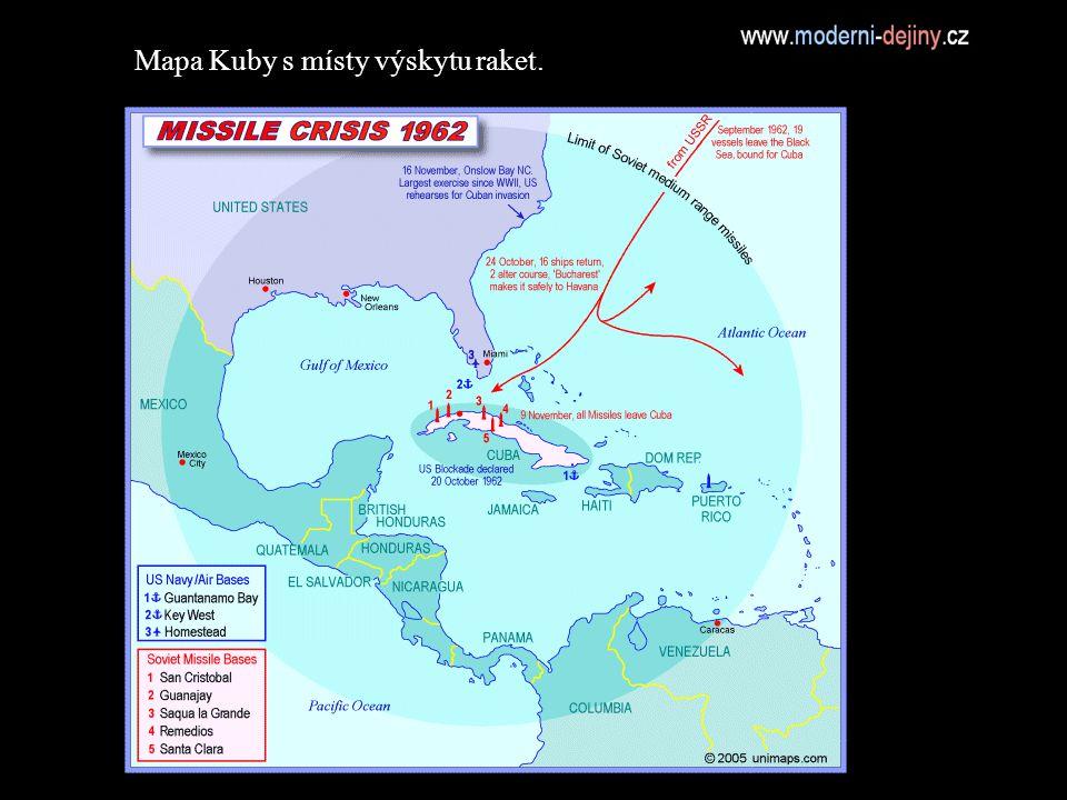 Mapa Kuby s místy výskytu raket.