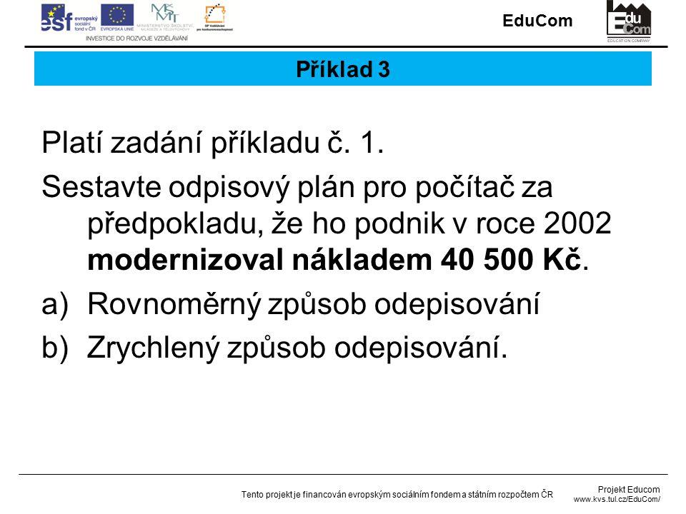 EduCom Projekt Educom www.kvs.tul.cz/EduCom/ Tento projekt je financován evropským sociálním fondem a státním rozpočtem ČR Příklad 3 Platí zadání příkladu č.