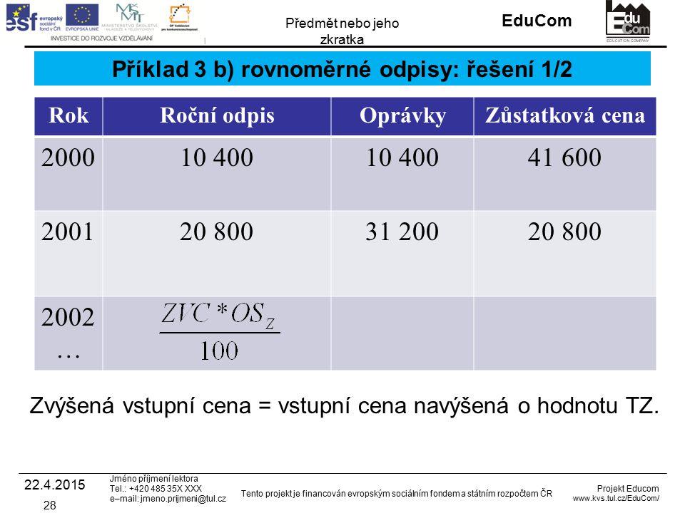 INVESTICE DO ROZVOJE VZDĚLÁVÁNÍ EduCom Projekt Educom www.kvs.tul.cz/EduCom/ Tento projekt je financován evropským sociálním fondem a státním rozpočtem ČR Předmět nebo jeho zkratka Jméno příjmení lektora Tel.: +420 485 35X XXX e–mail: jmeno.prijmeni@tul.cz Příklad 3 b) rovnoměrné odpisy: řešení 1/2 RokRoční odpisOprávkyZůstatková cena 200010 400 41 600 200120 80031 20020 800 2002 … 22.4.2015 28 Zvýšená vstupní cena = vstupní cena navýšená o hodnotu TZ.
