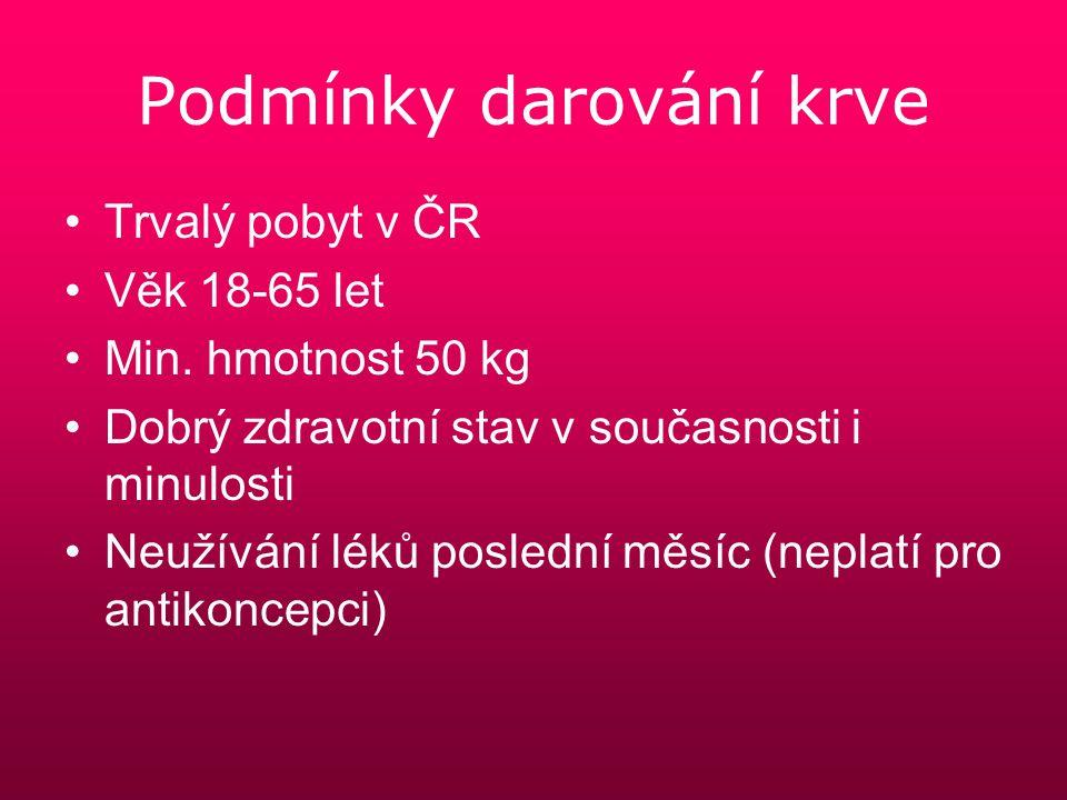 Podmínky darování krve Trvalý pobyt v ČR Věk 18-65 let Min. hmotnost 50 kg Dobrý zdravotní stav v současnosti i minulosti Neužívání léků poslední měsí
