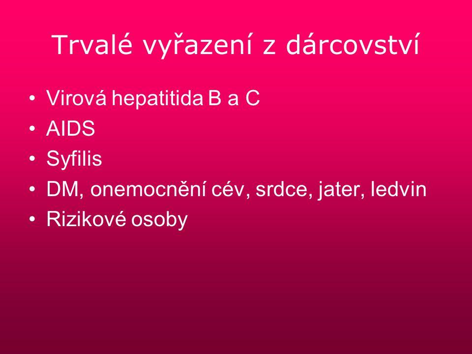 Trvalé vyřazení z dárcovství Virová hepatitida B a C AIDS Syfilis DM, onemocnění cév, srdce, jater, ledvin Rizikové osoby