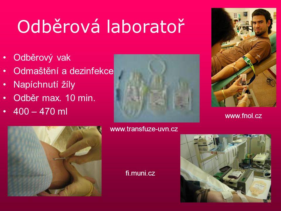 Odběrová laboratoř Odběrový vak Odmaštění a dezinfekce Napíchnutí žíly Odběr max. 10 min. 400 – 470 ml fi.muni.cz www.fnol.cz www.transfuze-uvn.cz