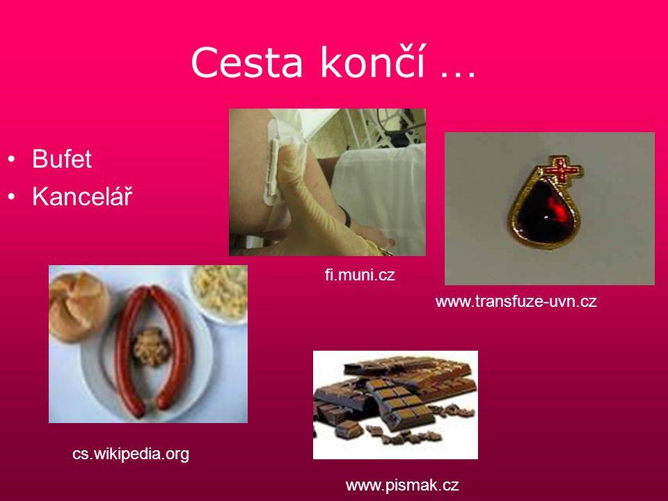 Cesta končí … Bufet Kancelář fi.muni.cz www.transfuze-uvn.cz cs.wikipedia.org www.pismak.cz