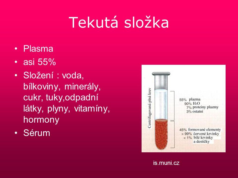 Tekutá složka Plasma asi 55% Složení : voda, bílkoviny, minerály, cukr, tuky,odpadní látky, plyny, vitamíny, hormony Sérum is.muni.cz