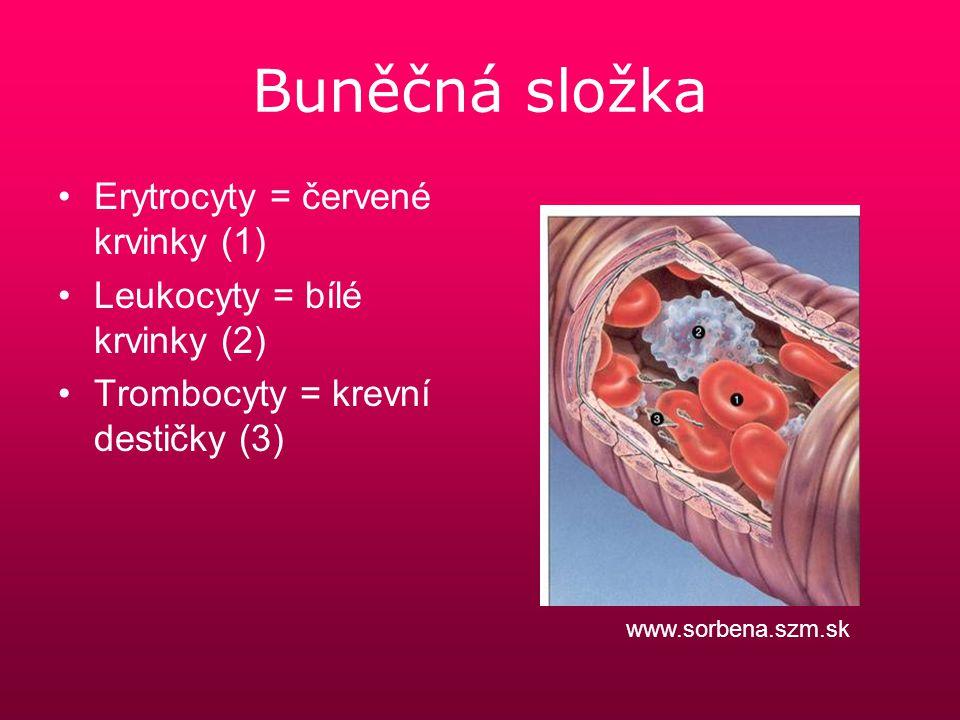 Erytrocyty 4-5 x 10 12 /l Přenos dýchacích plynů – O 2 a CO 2 osel.cz zdrowie.med.pl gymspgs.cz cs.wikipedia.org