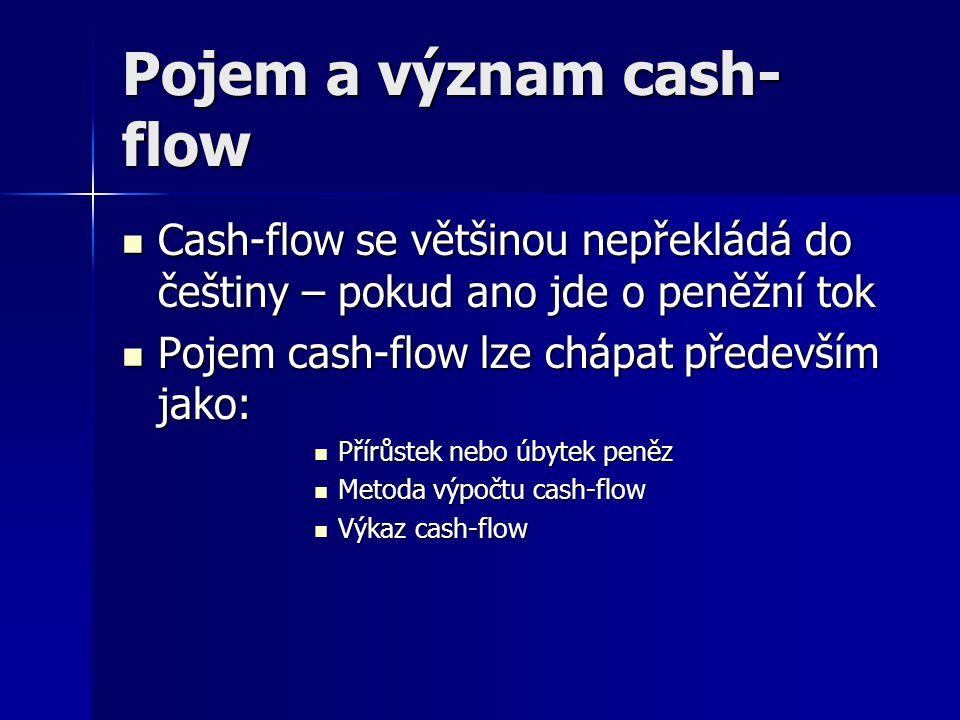 Metody cash-flow Cash-flow lze vypočítat především pomocí metody:  přímé Průběžně sledujeme příjmy a výdaje Průběžně sledujeme příjmy a výdaje  Nepřímé CF = HV + odpisy +- změna A,P CF = HV + odpisy +- změna A,P