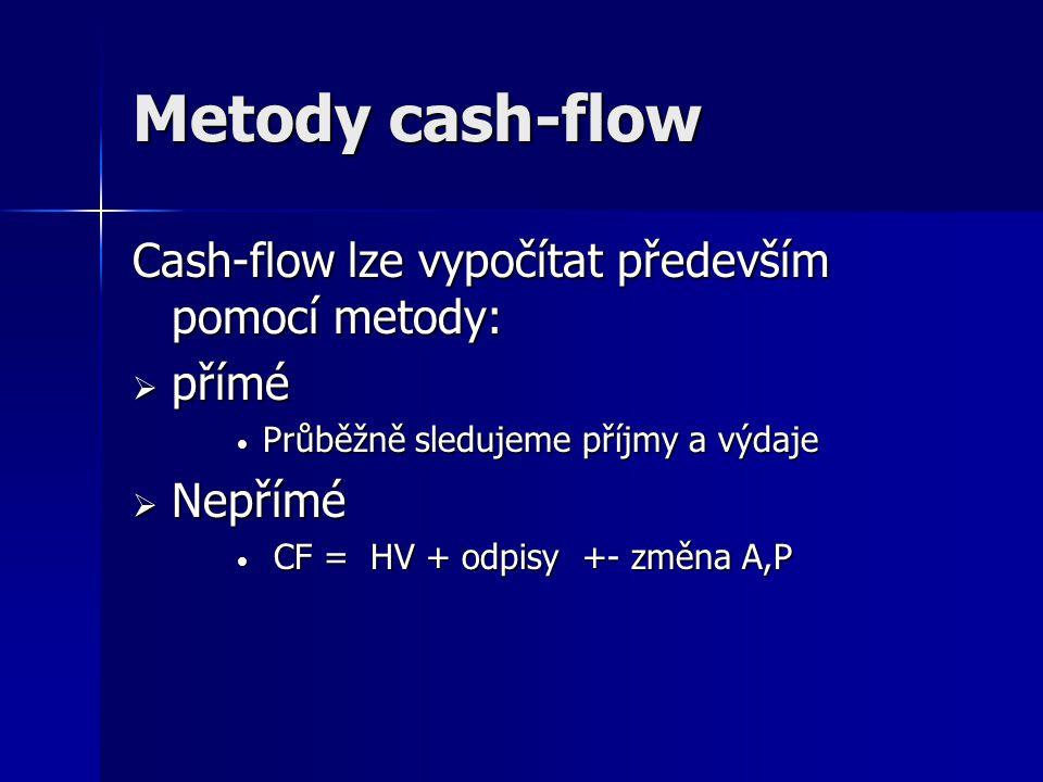 Metody cash-flow Cash-flow lze vypočítat především pomocí metody:  přímé Průběžně sledujeme příjmy a výdaje Průběžně sledujeme příjmy a výdaje  Nepř