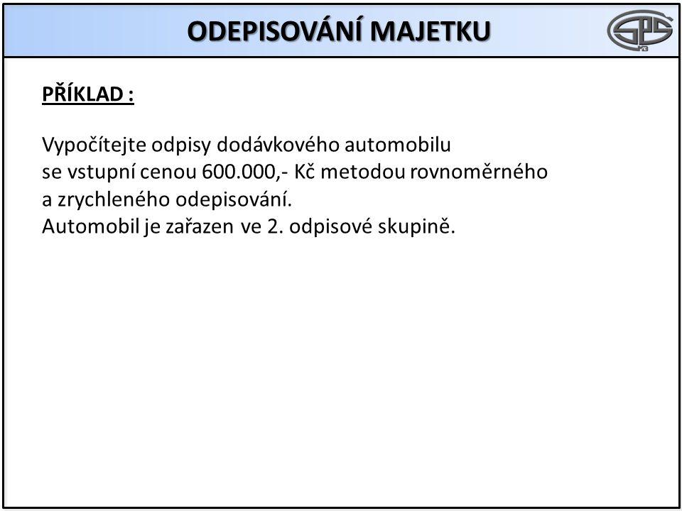 ODEPISOVÁNÍ MAJETKU PŘÍKLAD : Vypočítejte odpisy dodávkového automobilu se vstupní cenou 600.000,- Kč metodou rovnoměrného a zrychleného odepisování.