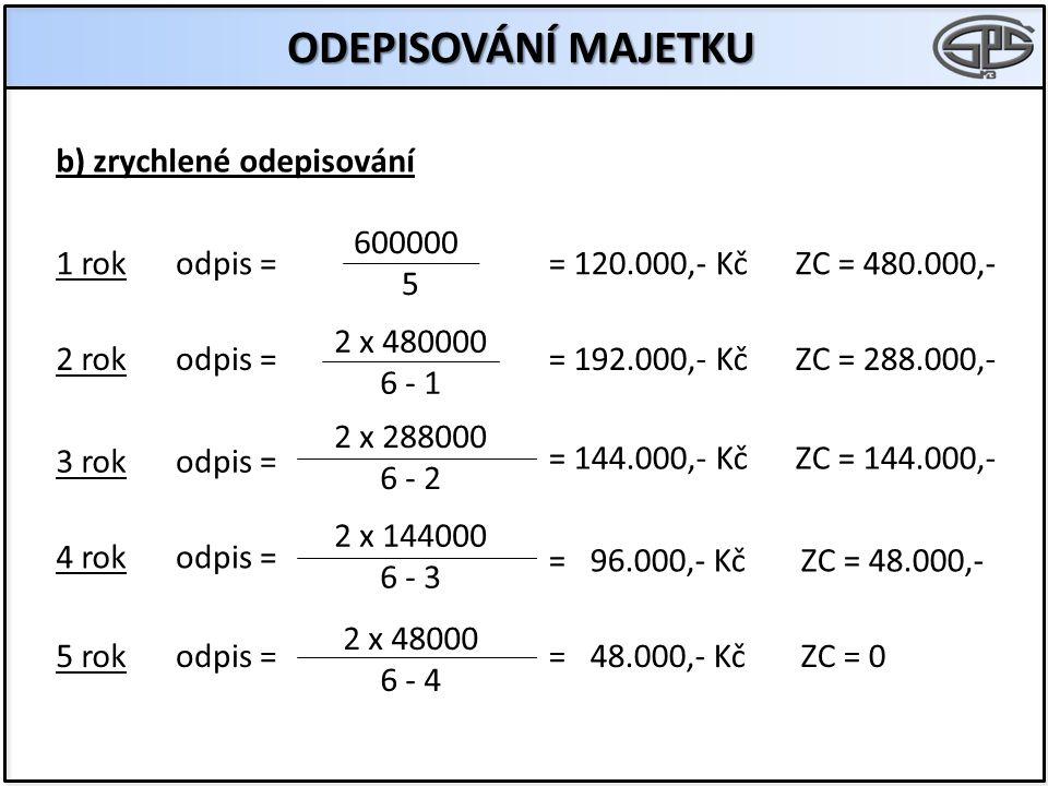 ODEPISOVÁNÍ MAJETKU b) zrychlené odepisování odpis = 600000 5 2 x 480000 6 - 1 2 x 288000 6 - 2 2 x 144000 6 - 3 2 x 48000 6 - 4 odpis = 1 rok 2 rok 3