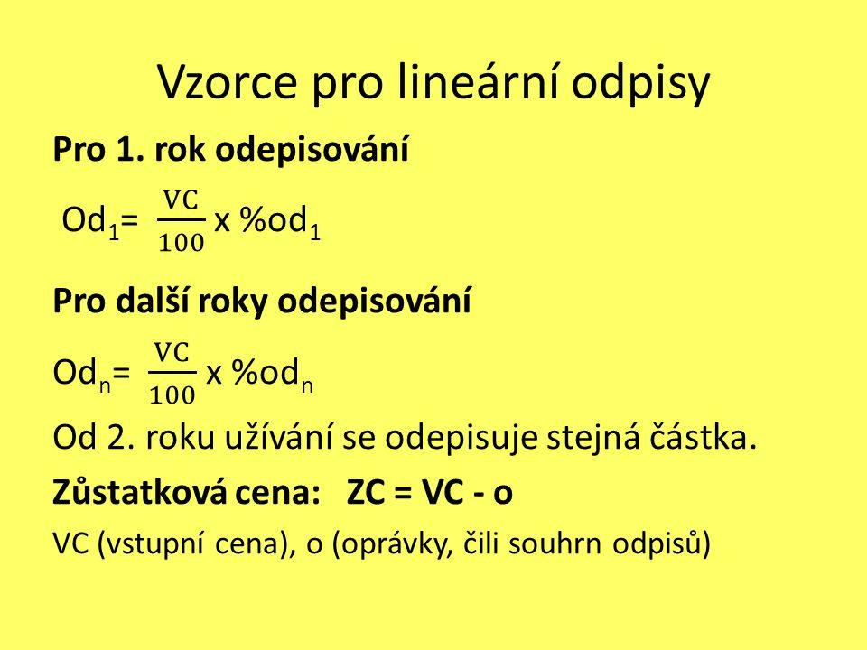 Vzorce pro lineární odpisy