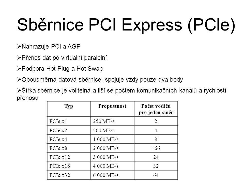 Sběrnice PCI Express (PCle)  Nahrazuje PCI a AGP  Přenos dat po virtualní paralelní  Podpora Hot Plug a Hot Swap  Obousměrná datová sběrnice, spojuje vždy pouze dva body  Šířka sběrnice je volitelná a liší se počtem komunikačních kanalů a rychlostí přenosu TypPropustnostPočet vodičů pro jeden směr PCIe x1250 MB/s 2 PCIe x2500 MB/s 4 PCIe x41 000 MB/s 8 PCIe x82 000 MB/s 166 PCIe x123 000 MB/s 24 PCIe x164 000 MB/s 32 PCIe x326 000 MB/s 64