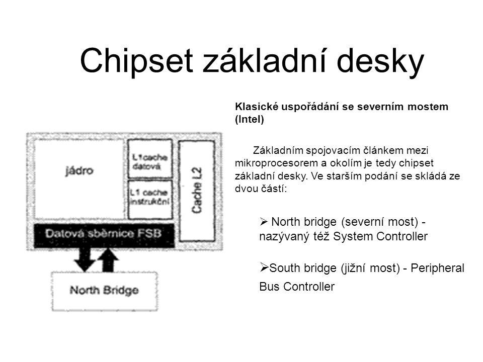 Chipset základní desky Klasické uspořádání se severním mostem (Intel) Základním spojovacím článkem mezi mikroprocesorem a okolím je tedy chipset zákla