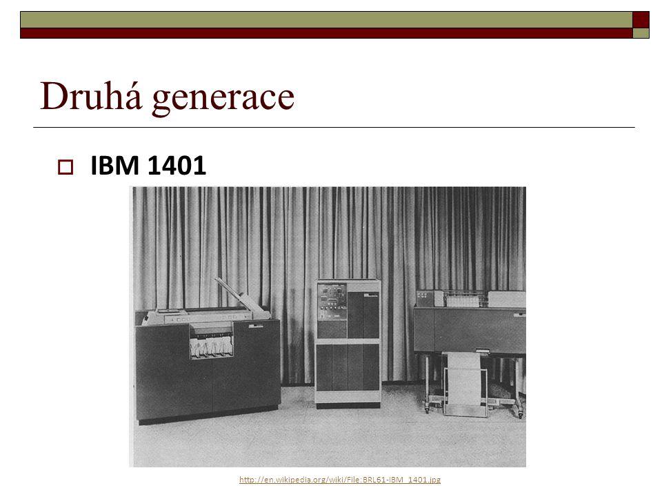 Druhá generace  IBM 7090 http://commons.wikimedia.org/wiki/File:IBM_7090_computer.jpg?uselang=cs