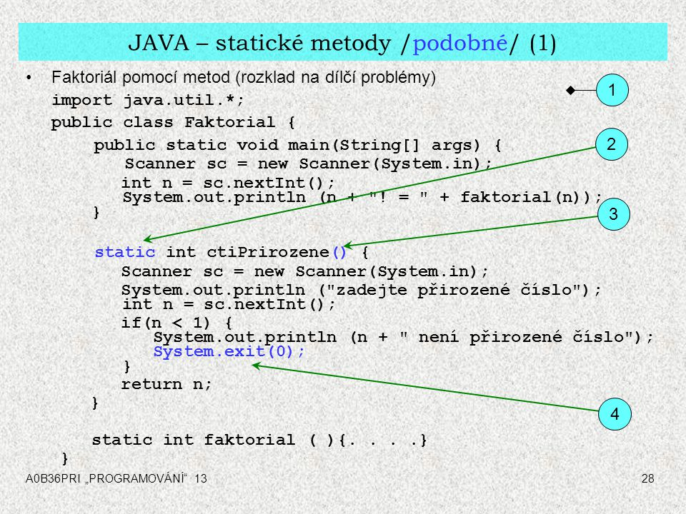 "A0B36PRI ""PROGRAMOVÁNÍ 1328 JAVA – statické metody /podobné/ (1) Faktoriál pomocí metod (rozklad na dílčí problémy) import java.util.*; public class Faktorial { public static void main(String[] args) { Scanner sc = new Scanner(System.in); int n = sc.nextInt(); System.out.println (n + ."