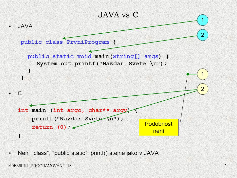 "A0B36PRI ""PROGRAMOVÁNÍ 137 JAVA vs C JAVA public class PrvniProgram { public static void main(String[] args) { System.out.printf( Nazdar Svete \n ); } C int main (int argc, char** argv) { printf( Nazdar Svete \n ); return (0); } Neni class , public static , printf() stejne jako v JAVA 1 2 1 2 Podobnost není"