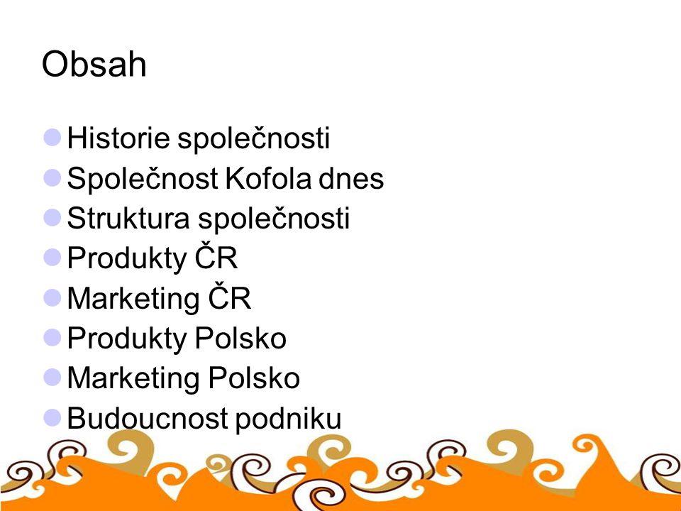 Obsah Historie společnosti Společnost Kofola dnes Struktura společnosti Produkty ČR Marketing ČR Produkty Polsko Marketing Polsko Budoucnost podniku