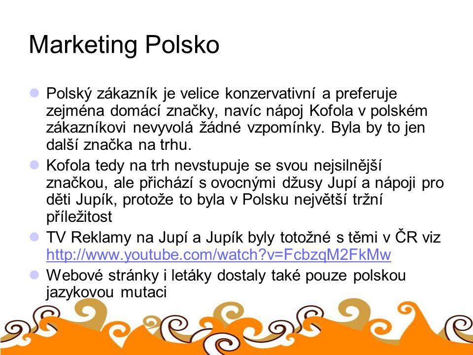 Marketing Polsko Polský zákazník je velice konzervativní a preferuje zejména domácí značky, navíc nápoj Kofola v polském zákazníkovi nevyvolá žádné vz