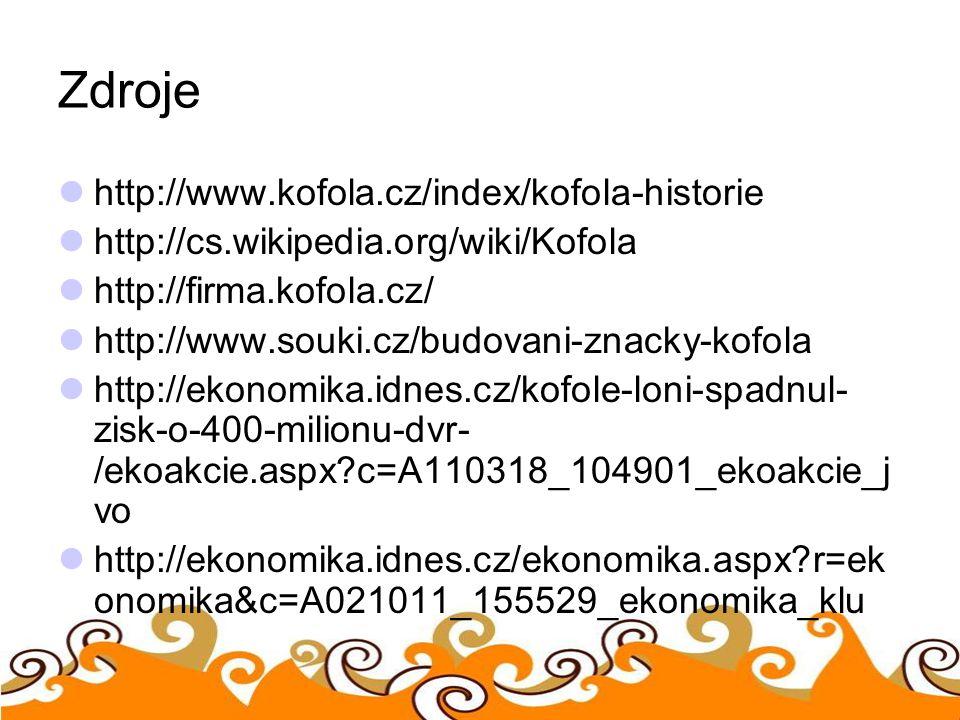 Zdroje http://www.kofola.cz/index/kofola-historie http://cs.wikipedia.org/wiki/Kofola http://firma.kofola.cz/ http://www.souki.cz/budovani-znacky-kofo