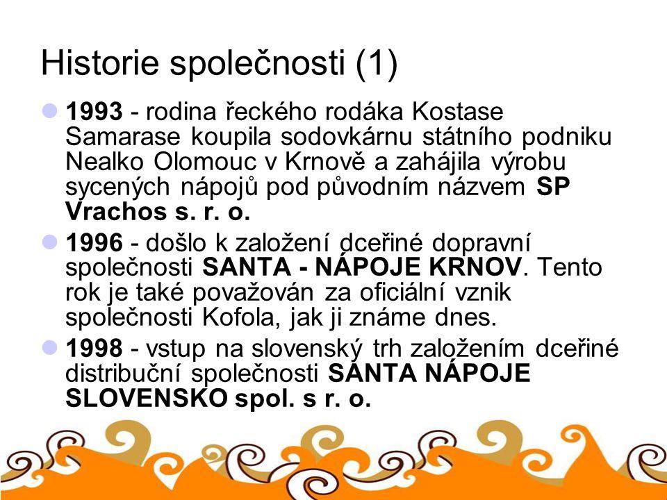 Historie společnosti (1) 1993 - rodina řeckého rodáka Kostase Samarase koupila sodovkárnu státního podniku Nealko Olomouc v Krnově a zahájila výrobu s