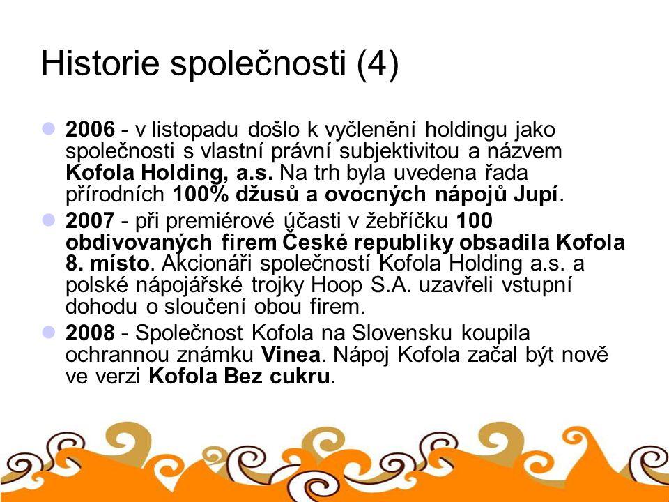 Historie společnosti (4) 2006 - v listopadu došlo k vyčlenění holdingu jako společnosti s vlastní právní subjektivitou a názvem Kofola Holding, a.s. N