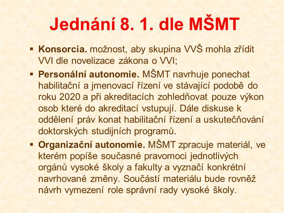 Jednání 8. 1. dle MŠMT  Konsorcia.