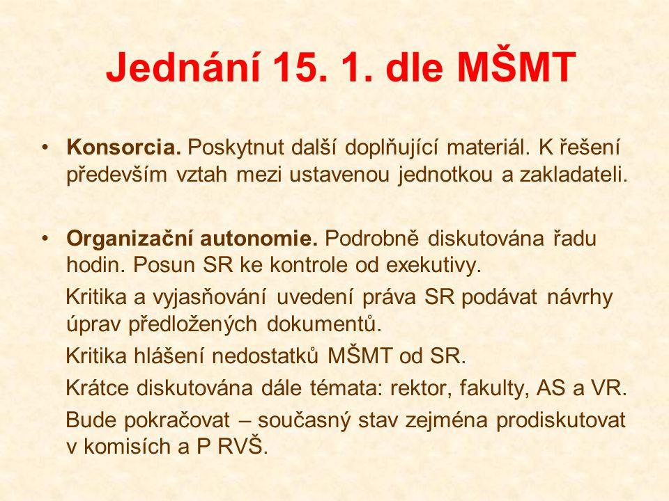 Jednání 15. 1. dle MŠMT Konsorcia. Poskytnut další doplňující materiál.